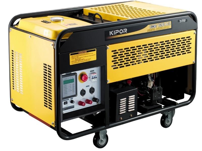 Бензогенератор KIPOR KGE12E, 230В, 8.5 кВт